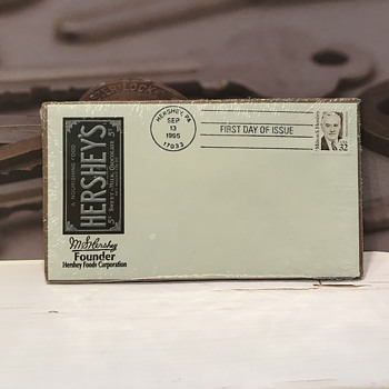 Vintage Hershey's First Day Issue Stamp and Tin Can - Stamps