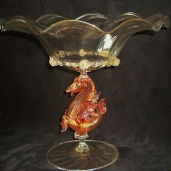 SALVIATI HIPPOGRIFF STEM COMPOTE - Art Glass