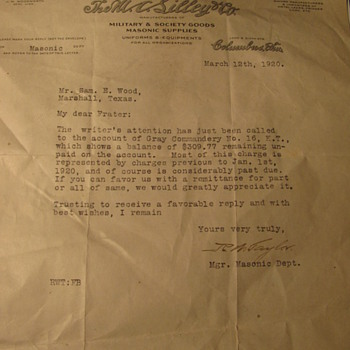 A letter written in 192o - Paper