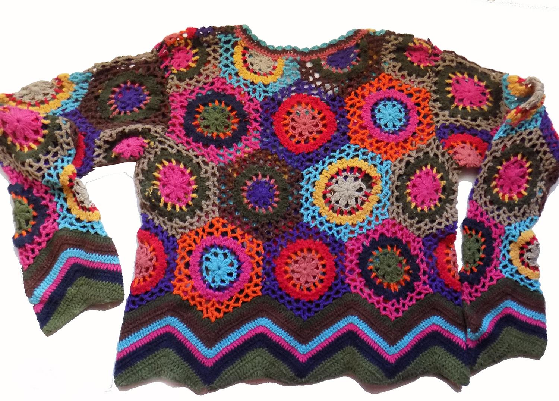 Colorful 1969 WOODSTOCK Festival WORN Crochet Top   Collectors Weekly