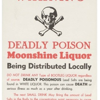 Moonshine Warning - Broadside from North Carolina 1960's