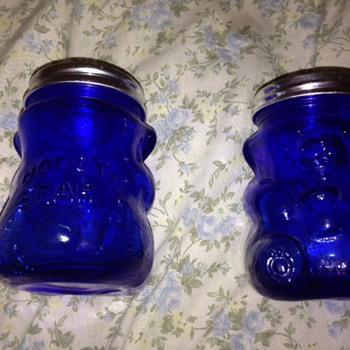 blue glass honey bears - Glassware