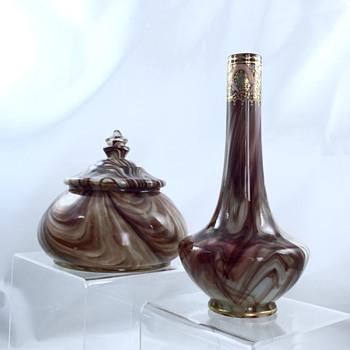 Loetz Onyx Dresser Box & Onyx Enamelled Vase - Art Nouveau
