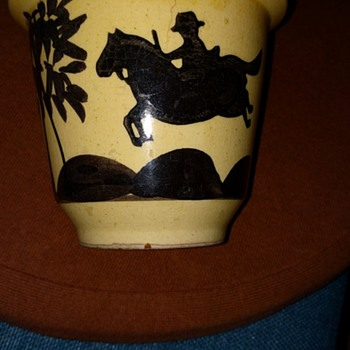 Flower pot with interesting man riding a horse with a tree - Pottery