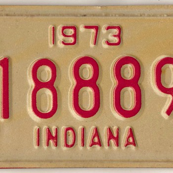 1973 - Motorcycle License Plate (Indiana) - Classic Cars