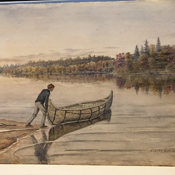 F. Fitzroy Dixon 1904 watercolor of Nice old Canoe and a Canadian - Fine Art