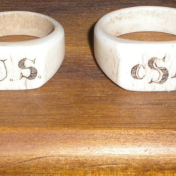 Two Carved Civil War Bone Rings - Military and Wartime