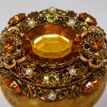 Vintage West Germany Citrine Topaz Faceted Rhinestone Brooch  - Fine Jewelry
