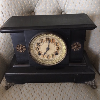 New Haven Clock Company Circa 1890 Black Mantle Clock - Clocks