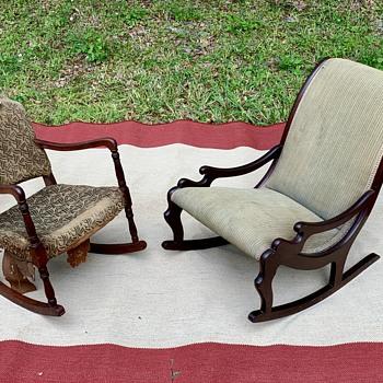Antique Potthast Women's Mahogany & Child's Rocking Chairs - Furniture