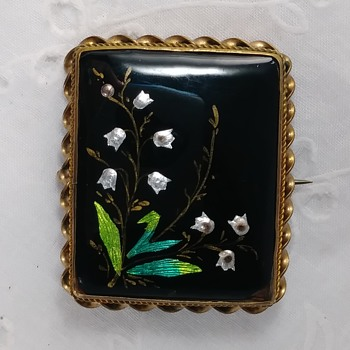 Square, Vintage Brooch.  Shiny Black on Metal.  Inlaid with very shiny silver.  Don't even know what the materials are called - Costume Jewelry