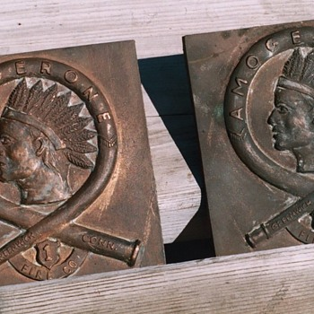 1930's Conn. Firefighters Indian Bronze Plaques - Firefighting