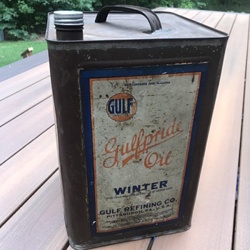 Vintage Gulfpride 5 Gallon Oil Can - Petroliana