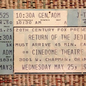 Opening day, first showing, Return of the Jedi, ticket stub