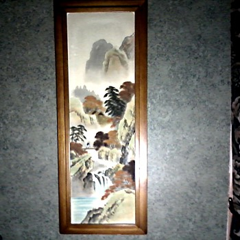 Framed Painting on Silk Panel / Mountain Landscape with Figure / Unknown Artist / Circa 1950's-60's - Asian