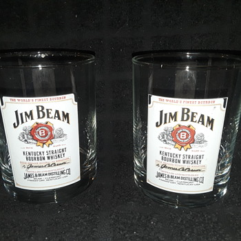pair of JIM BEAM BOURBON cocktail glasses - Advertising