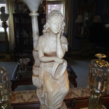 Art Deco Carved Alabaster Figural Lamp - Art Deco