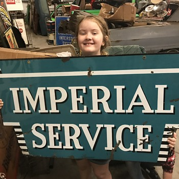 1950's Porcelain Chrysler Imperial Service sign. Charity auction win for California fire victim. - Signs