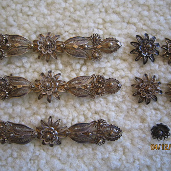 Antique Silver Gold Filigree Jewelry Decorative Pieces  - Fine Jewelry