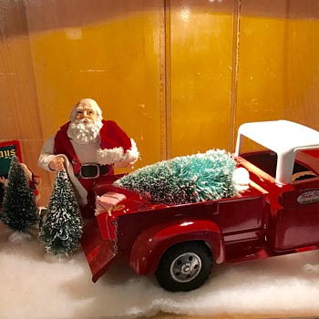 1958 Tonka pickup makes a good tree delivery truck for Santa. - Toys