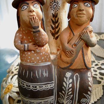 Mexican? Folk Art Couple Vase - Folk Art