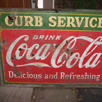 Coca-Cola Sign 1933 Curb Service Double Sided 5 feet by 42 inches  - Signs