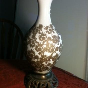 Vintage velvet appliqued lamp - Lamps