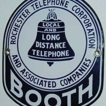 Rochester Telephone Corporation Porcelain Booth Sign