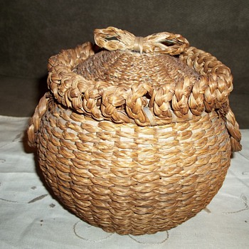 Sweet Grass and Ash Basket with Bentwood Rim,  1880-1900 - Native American