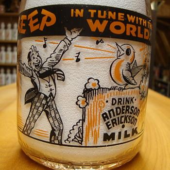 Anderson Erickson Milk Bottle with Unusual Back Side.... - Bottles