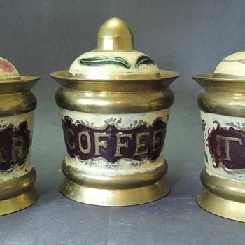 Brass & Enamel Coffe, Tea, Sugar Canisters