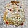 Vintage Shell Cat Brooch