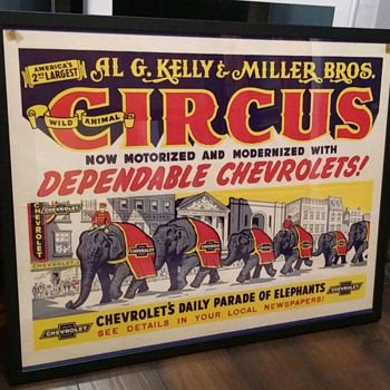 1930s Chevrolet circus poster - Classic Cars