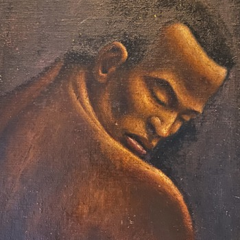 Unsigned Painting of a Black Man - Fine Art