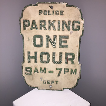 Cast aluminum One Hour Parking sign - Signs
