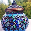 cloisonne enamel on woven wire -tiny pot and lid