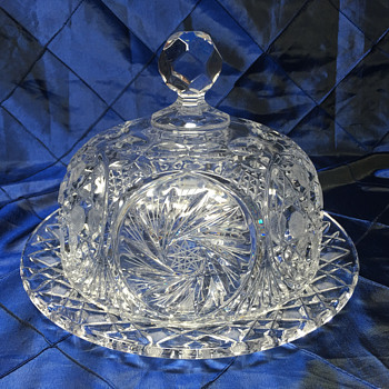 Cut Crystal Cake Plate and Dome - Possible American Brilliant Period? - Glassware