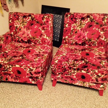 Vintage/Bohemian Floral Red Velvet Chairs