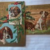 Christmas Postcards,Vintage unsent, FEATURE DOGS