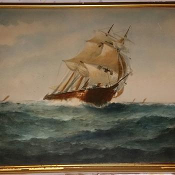 1906 J J Mcauliffe Stiff Breeze watercolor print