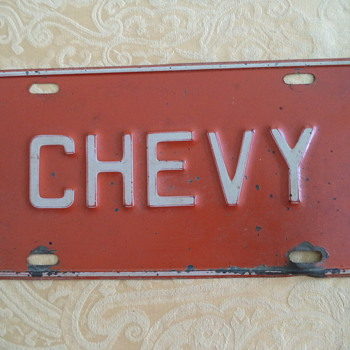 Chevy Old Plate - Classic Cars