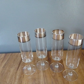Antique, Vintage Silver Trimmed Cordial or ??? Glasses - Glassware