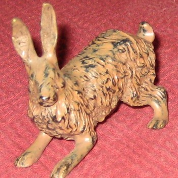 Vintage Cold Painted Bronze Hare Place Card Holder - Animals