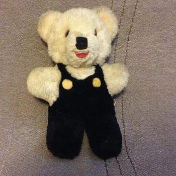 Shanghai Dolls Factory Teddy Bear White Wool Plush 1950s 60s Glass Eyes