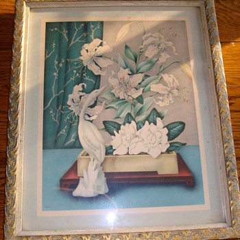 """Very Old Magnolia """"Art Deco"""" Water Colors 1920's By Goes - Posters and Prints"""