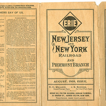 1908 New Jersey & New York Railroad Timetable - Railroadiana