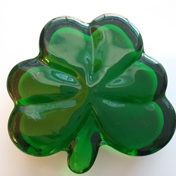 Glass shamrock, ceramic leprechaun on leaf  - Art Glass