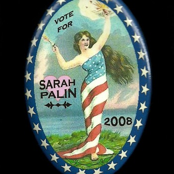4 Sarah Palin Political Pinback Button's - Medals Pins and Badges