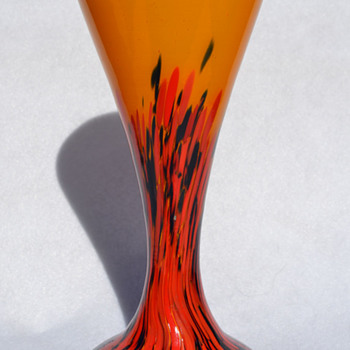 Czech spatter on orange vase - Art Glass