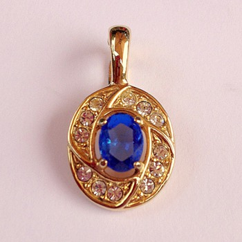 Royal Blue and Gold Snap On Pendant - Costume Jewelry
